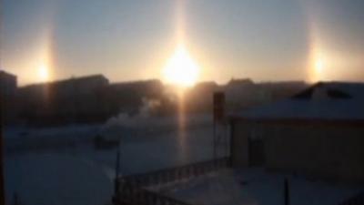 بالفيديو.. 3 شموس في منغوليا