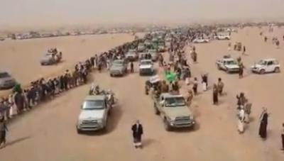 عرض عسكري ضخم وحشد كبير لقبائل بني هلال بشبوة في رسالة تحذيرية لجماعة الحوثي (فيديو)