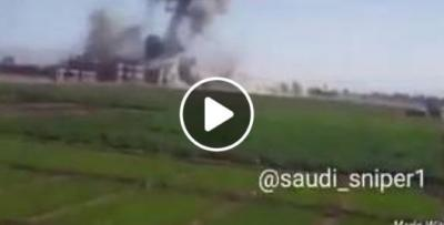شاهد بالفيديو لحظة استهداف طيران التحالف السعودي لمباني القوات الجوية فى بني الحارث شمال صنعاء